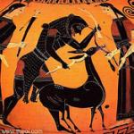Vase montrant Hercule capturant la biche de Cérynie