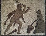 Mosaïque d'Hercule nettoyant les écuries d'Augias