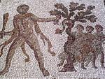 mosaïque d'Atlas dérobant les pommes d'or du jardin des hespérides