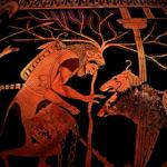 Hercule avec sa peau de lion sur le dos, devant le chien Cerbère