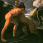 Peinture d'Hercule combattant le lion de Némée